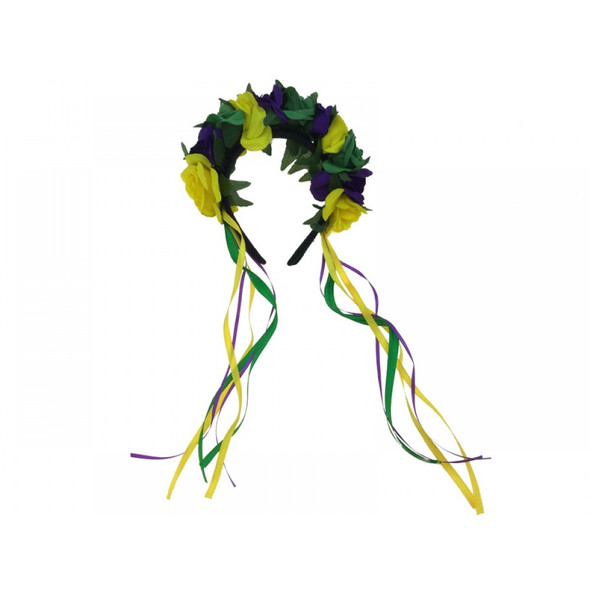 Mardi Gras Floral Adult Headband Purple Green Yellow Ribbons Flowers Headpiece
