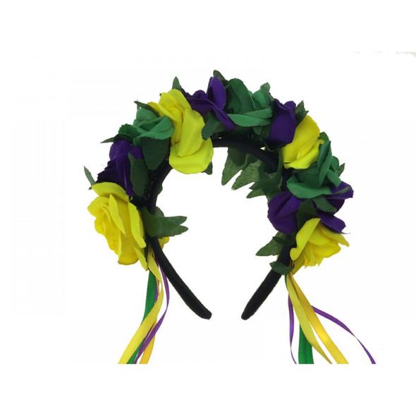 Mardi Gras Floral Adult Headband Purple Green Yellow Ribbons Flowers Headpiece