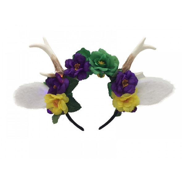 Mardi Gras Deer Fawn Antlers Floral Headband Creature Animal Fat Tuesday