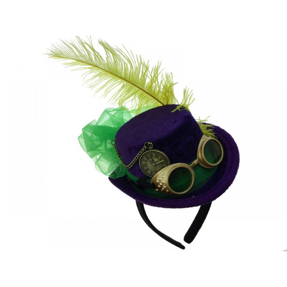 Mardi Gras Steampunk Mini Top Hat Headband w Goggles Feathers Ribbons Festival