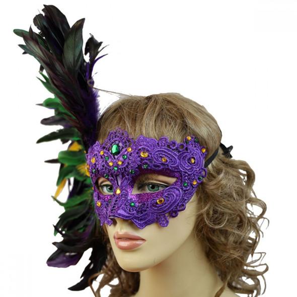 Masquerade Mardi Gras Venetian Women's Party Eye Mask Side Feathers Luxurious
