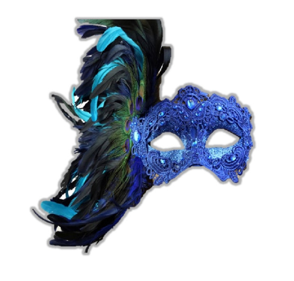 Blue Masquerade Mardi Gras Venetian Women's Party Eye Mask Feathers Luxurious