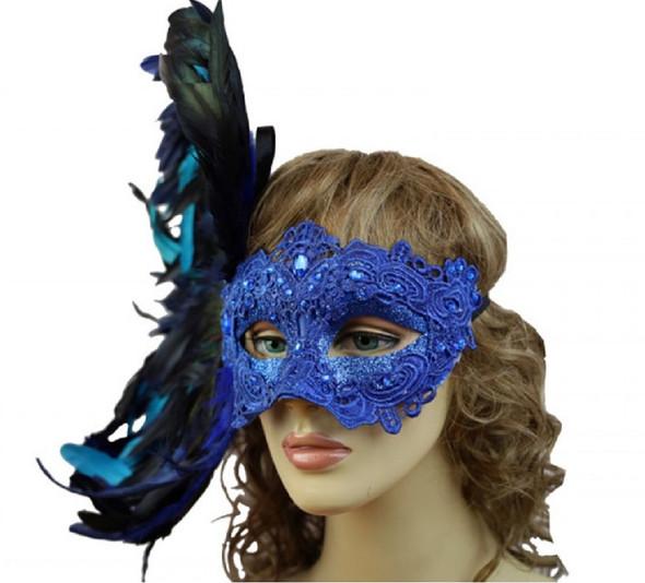 Blue Masquerade Mardi Gras Venetian Women's Party Eye Mask Feathers Luxurious