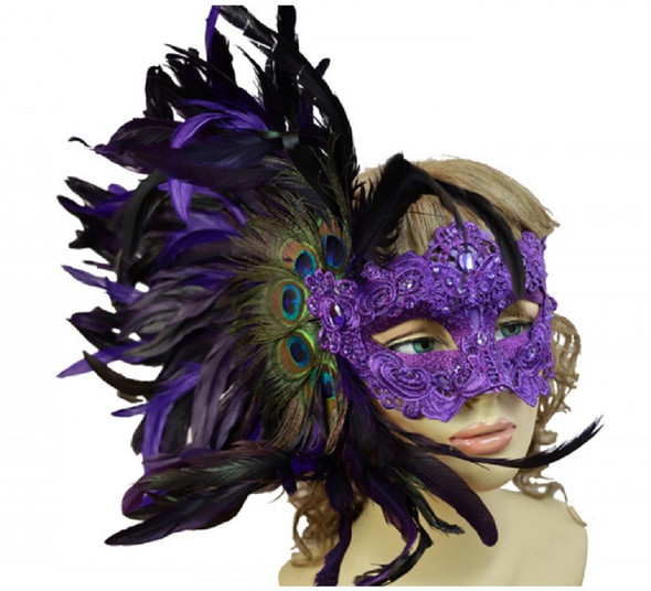 Purple Masquerade Mardi Gras Venetian Women's Party Eye Mask Feathers Luxurious