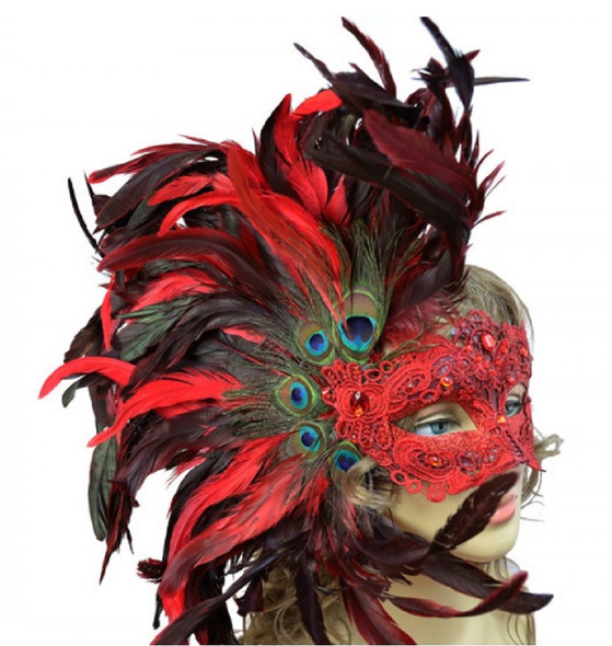 Red Masquerade Mardi Gras Venetian Women's Party Eye Mask Feathers Luxurious