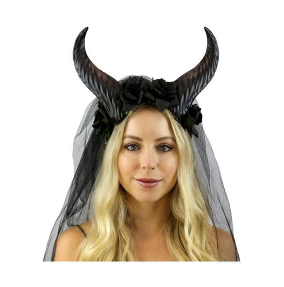 Black Goat Horns Headband Flowers Veil Mystical Creature Animal Antlers Adult