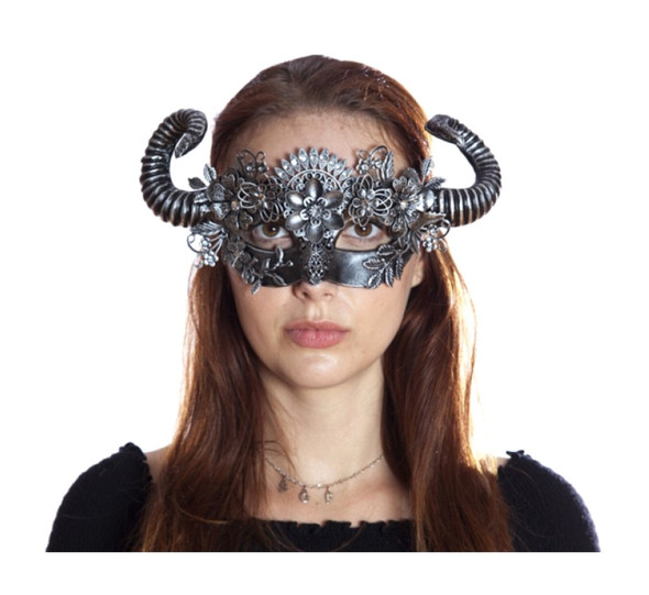 Antique Silver Steampunk Fancy Eye Mask w Horns Flowers Adult Mystical Creature