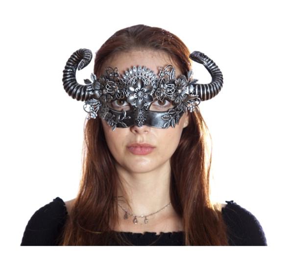 Antique Silver Steampunk Fancy Eye Mask w Horns Flowers Adult Mystical Creature