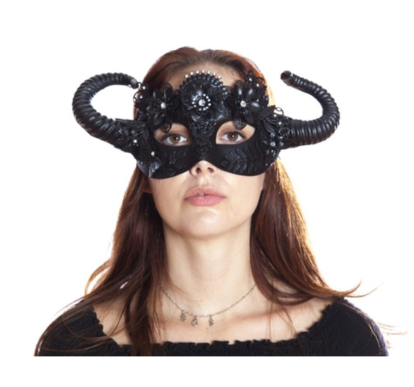 Black Vintage Style Steampunk Eye Mask w Horns Adult Mystical Creature Animal