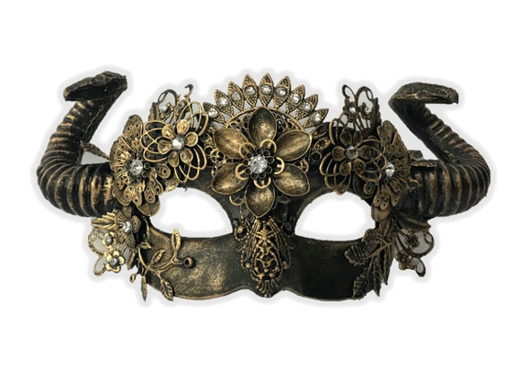 Antique Gold Steampunk Fancy Eye Mask w Horns Flowers Adult Mystical Creature