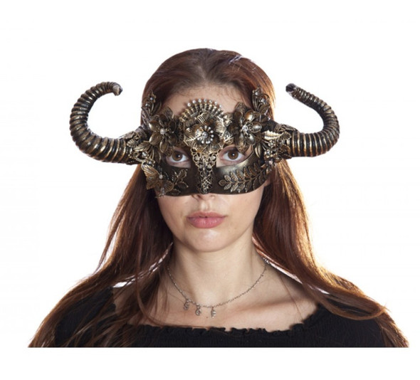 Antique Gold Steampunk Fancy Eye Mask w Horns Adult Mystical Creature Animal