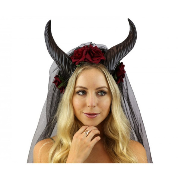 Red Floral Goat Horns Headband Veil Mystical Creature Animal Fairy Antlers Adult