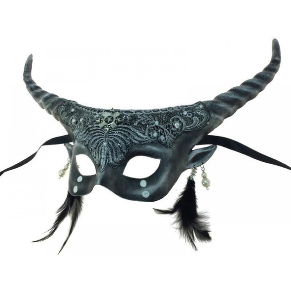 Silver Fawn Fancy Half Mask Halloween Adult Horns Mystical Spirit Animal