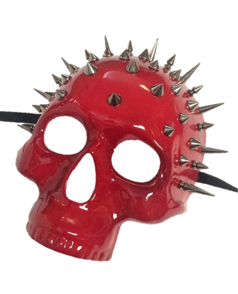 Day of The Dead Silver Spikes Red Mask Shiny Skull Skeleton Dominatrix Pirate