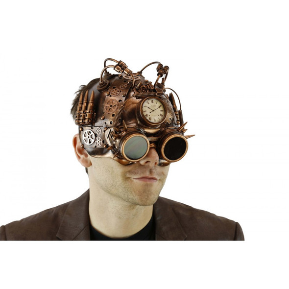 Copper Steampunk Helmet Style Adult Half Mask with Goggles Compass LED Lights-Up