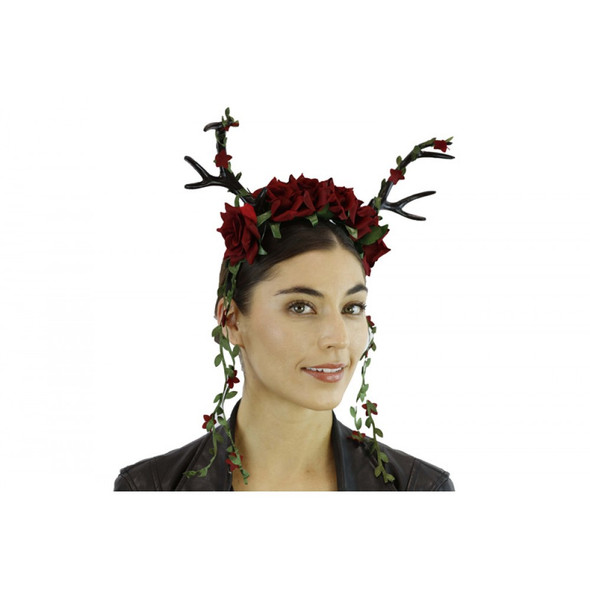 Black Deer Antlers Headband w Red Flowers Mystical Creature Animal  Horns Adult
