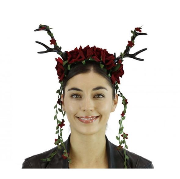 Black Deer Antlers Headband w Red Flowers Mystical Creature Animal  Horns Adult
