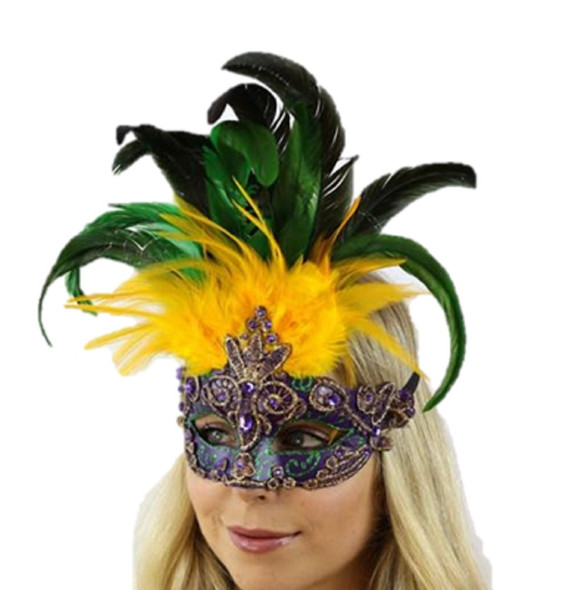 Mardi Gras Venetian Party Half Mask Feathers Gems Masquerade Costume Accessory