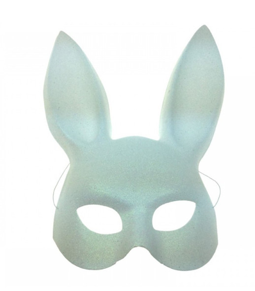 Glittery White Bunny Rabbit Plastic Half Mask Adult Easter Costume Accessory