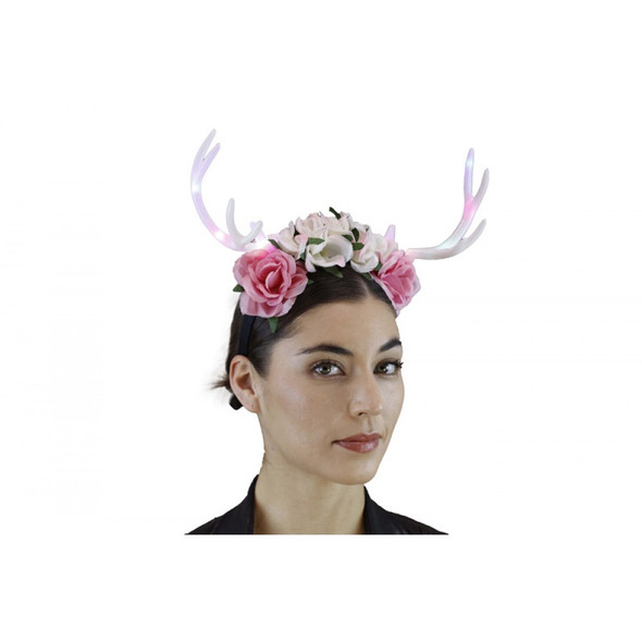 Floral Deer Antlers Headband Mystical Creature Fairy LIGHTS-UP White Horns Adult