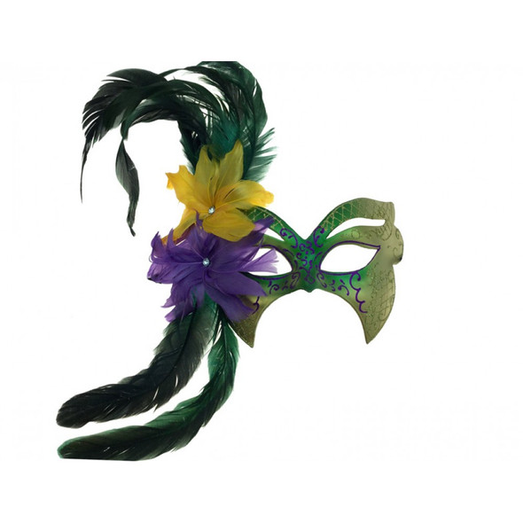 Mardi Gras Venetian Styled Mask Feathers Gems Masquerade Costume Accessory GN