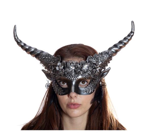 SilverFHorned Devil Fancy Half Mask Halloween Adult Mystical Creature Animal