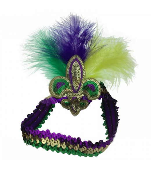 Mardi Gras Sequin Headband Fleur De Lys Feathers Purple Green Gold Party Parade