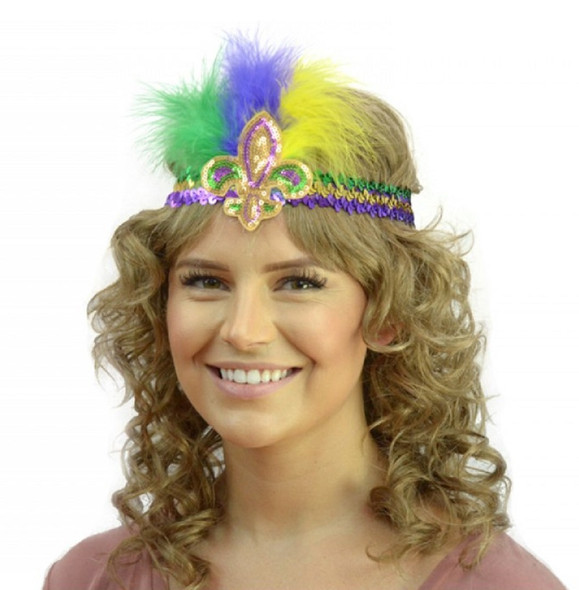 Mardi Gras Sequin Headband Fleur De Lys Feathers Purple Green Gold Party Parade