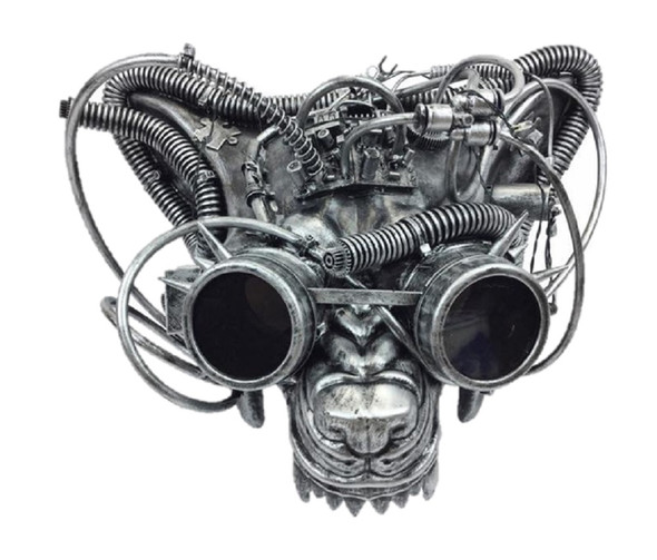Steampunk LED Light-Up Wolf Mask w Goggles Beast Metallic Masquerade Adult Post