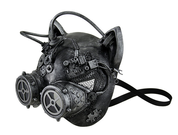 Silver Steampunk Kitty Cat Woman Costume Half Mask with Goggles Adult Masquerade