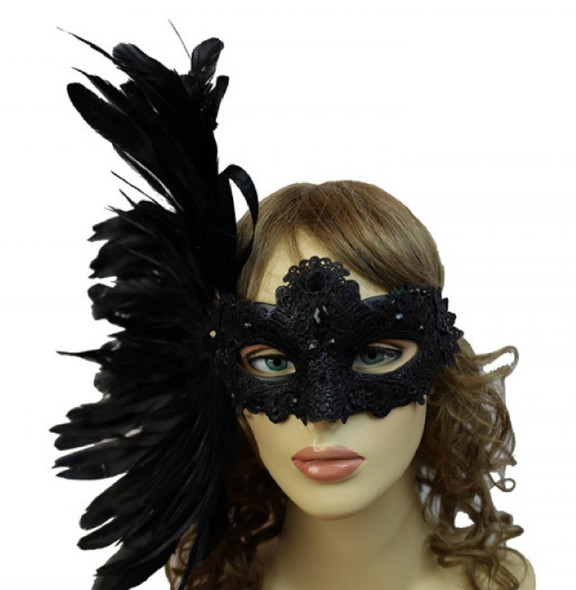 Black Masquerade Venetian Mardi Gras Women's Lace Party Eye Mask Feathers Gems