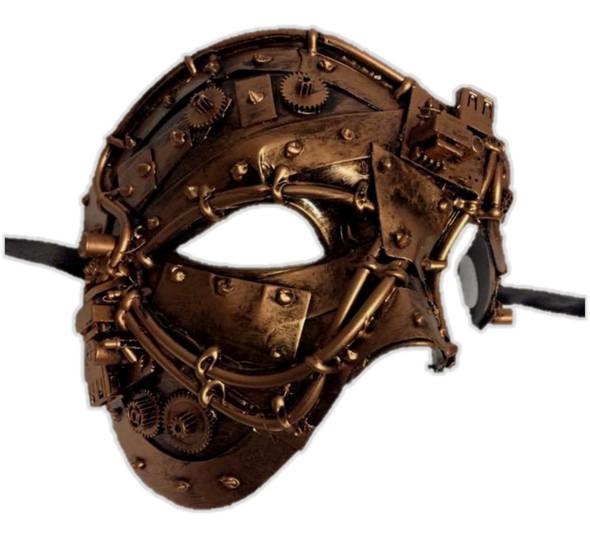 Steampunk Copper Phantom Style Half Face Mask Men's Masquerade Costume Accessory