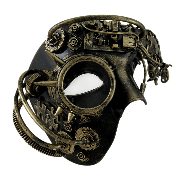 Gold Steampunk Phantom Half Mask with Spiked Goggle Masquerade Cybot Robot