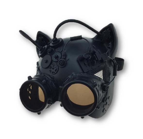 Black Steampunk Kitty Cat Woman Costume Half Mask with Goggles Adult Masquerade