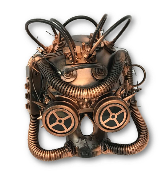 Steampunk LED Light-Up Skull Mask Goggles Copper Metallic Masquerade Adult Post
