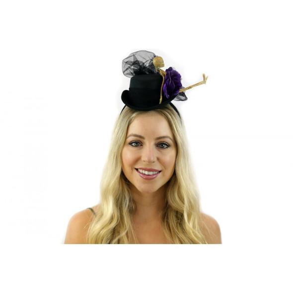 Skeleton Mini Black Top Hat Victorian Cocktail Women Halloween Costume Accessory