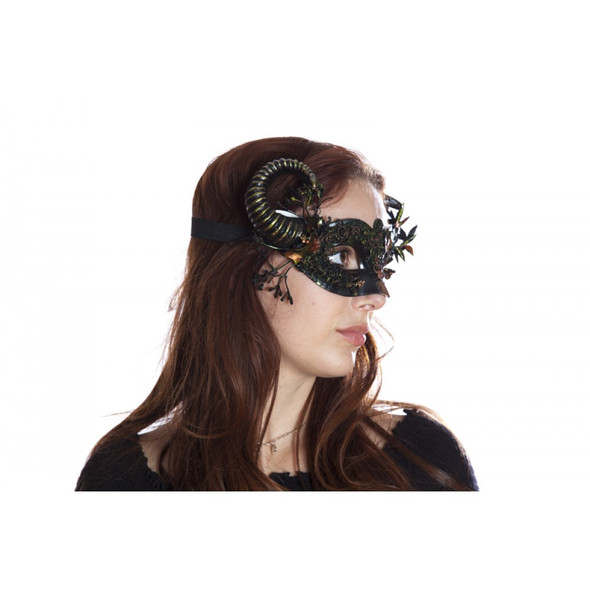 Mother Nature Fancy Eye Mask w Horns Forest Flowers Adult Mystical Creature