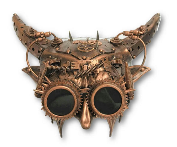Deluxe Copper Steampunk Demon Light-Up Masquerade Mask Mechanical Devil Horned