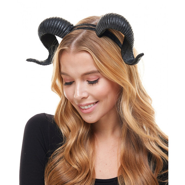 Demons & Devils Black Goat Horns on a Headband Adult Halloween Costume Accessory