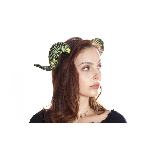 Demons & Devils Goat Horns on a Headband Adult Halloween Costume Accessory