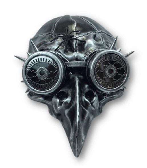 Silver Steampunk Crow Skull Birdman Masquerade Mask w Goggles Black Death Plague