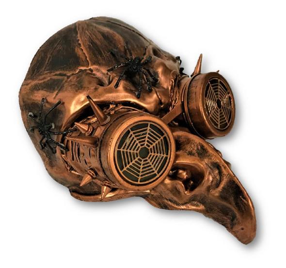 Copper Steampunk Crow Skull Birdman Masquerade Mask w Goggles Black Death Plague