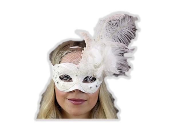 White Lace Venetian Wing Mask w Feathers Masquerade Mardi Gras Costume Accessory