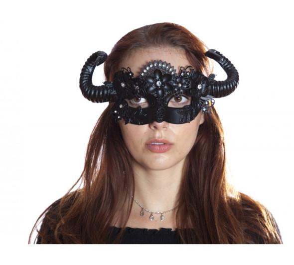 Midnight Black Steampunk Fancy Eye Mask w Horns Flowers Adult Mystical Creature