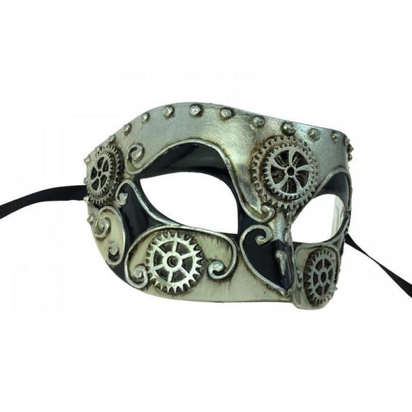 Venetian Steampunk Eye Mask Adult Gears Masquerade Costume Accessory Silver