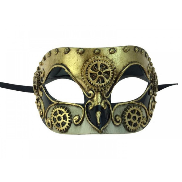 Venetian Steampunk Eye Mask Adult Gears Robot Masquerade Costume Accessory Gold