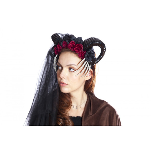 Black Ram Horned Headband Mystical Creature Skeleton Hands Flowers Animal