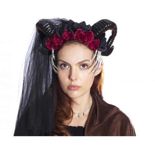 Black Ram Horned Headband Mystical Creature Skeleton Hands Flowers Animal