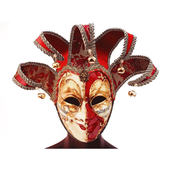 Masquerade Venetian Jester Fancy Red & White Mask Adult Costume Accessory