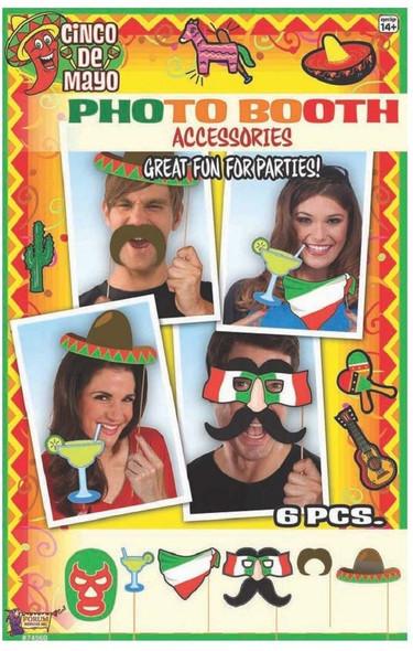 Cinco De Mayo Photo Booth Prop Kit Set Fiesta Party Supplies Decor Games 6PCS